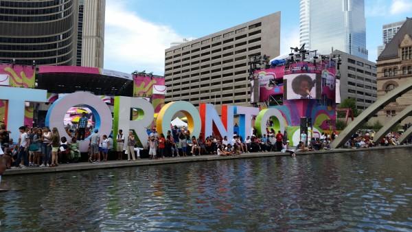 Toronto sign at City Hall during 2015 Pan Am Games