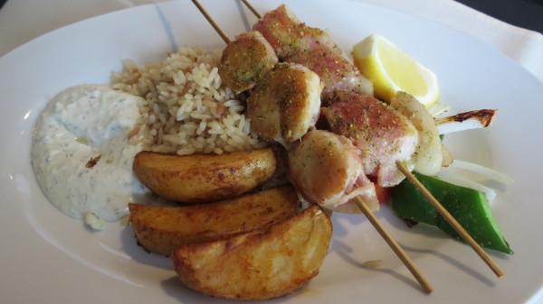 Bacon-wrapped Scallop Shish Kabobs, $20
