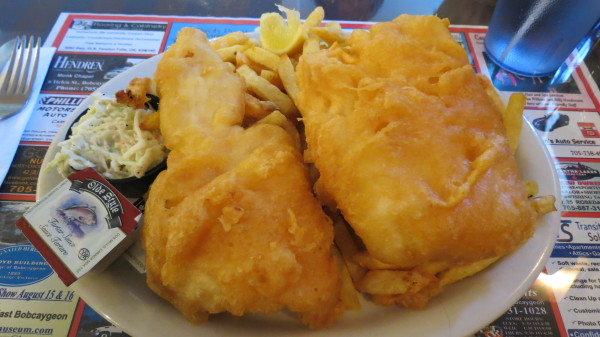 Halibut and Chips at Just For The Halibut, Bobcaygeon, $18.95
