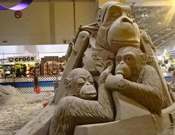 Monkey sand sculpture at the CNE