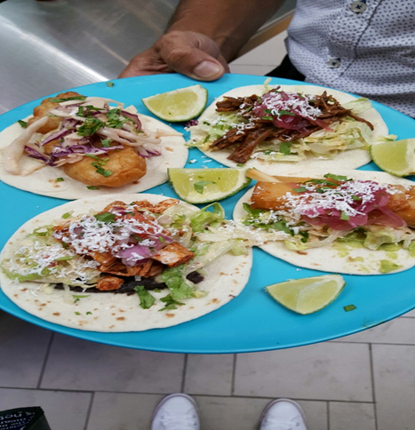 Baja Fish Taco, Chipotle Braised Res Salsa Taco, Pollo Chillorio Black Bean Puree Taco and Hearts of Palm with Guacamole Taco at Richtree Taco Bus