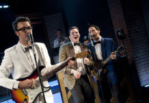 Nigel Irwin as Buddy Holly, Thomas James Finn as The Big Bopper and Mike Buchanan as Ritchie Valens, photo Seanna Kennedy