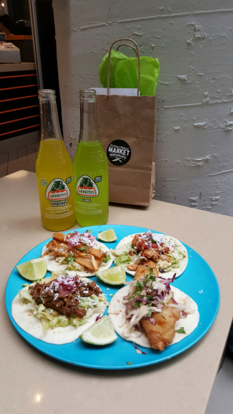 Tacos served with Jarritos Pineapple and Lime Soda