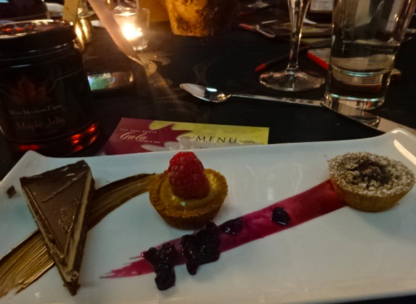 Nanaimo Bar, butter tart and Wild Blueberry Pie at The True North Gala in Toronto