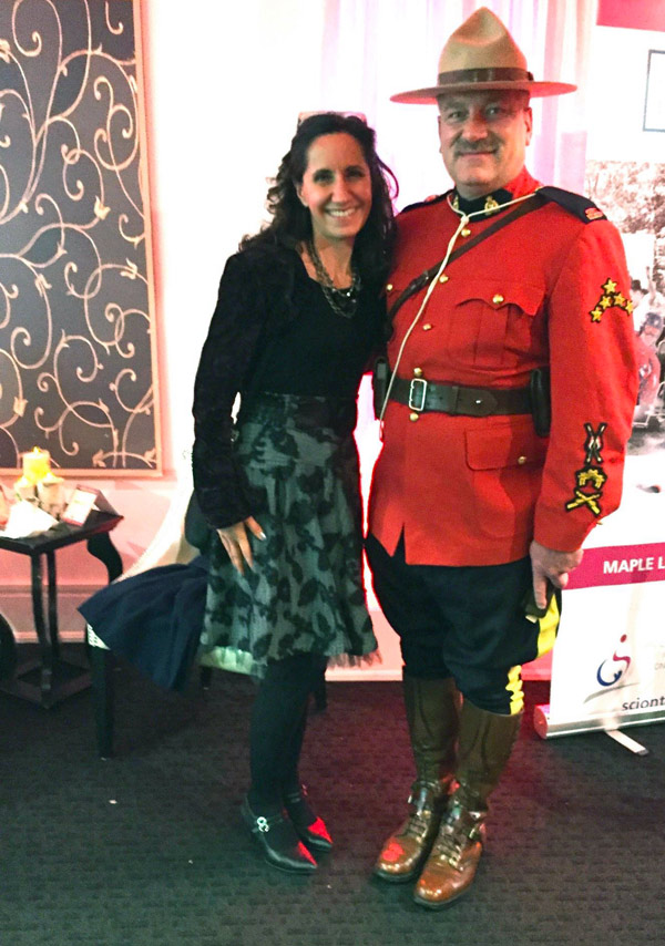 RCMP Officer Terry Russell in his Mountie uniform and me in my made in Canada bolero at The True North Gala on October 15, 2015