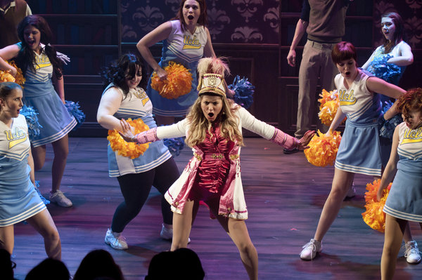 Madison Hayes-Crook and company in Legally Blonde the Musical at Lower Ossington Theatre in Toronto, photo credit Seanna Kennedy