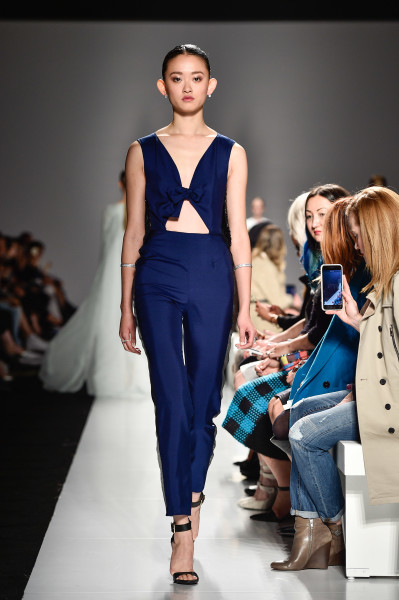 Navy Blue Cut-out Jumpsuit from Matthew Gallagher Spring 2016 Collection, photo credit George Pimentel