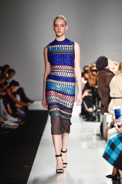 Vivid Weaved Dress from Matthew Gallagher Spring 2016 Collection, photo credit George Pimentel