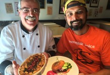 Chef Ali and Chef Sanjiz hold their dishes that will be available at Supper With Syria