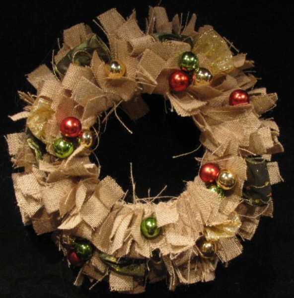 Christmas Ball Burlap Wreath, $42 from Leena Kimsto, All Through The House, Booth Q24