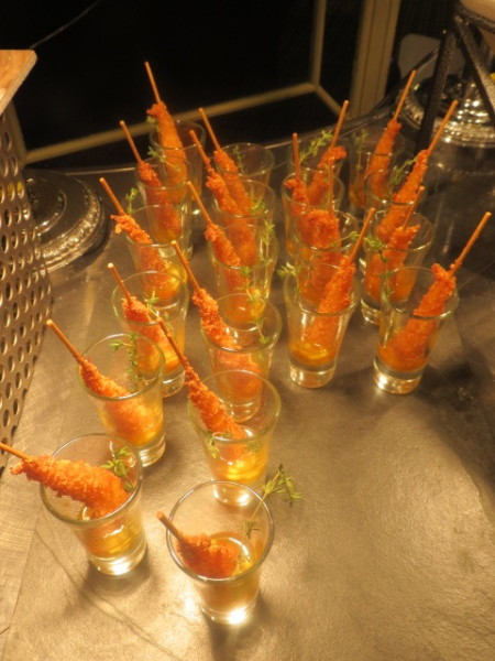 Grilled Jerk Shrimp Shooters with Coconut Infused Pineapple Chutney at Holiday tree lighting party at Omni King Edward Hotel