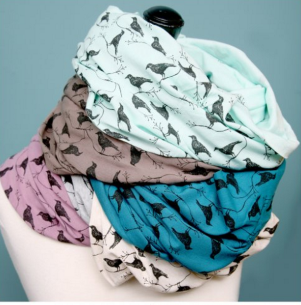 Hand Silk Screened Infinity Scarves from Natasha Paterson, Whiteout Workshop, Booth C41