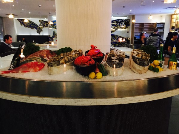 Raw Bar featuring fish, oysters and crustaceans at Miku Restaurant, Toronto