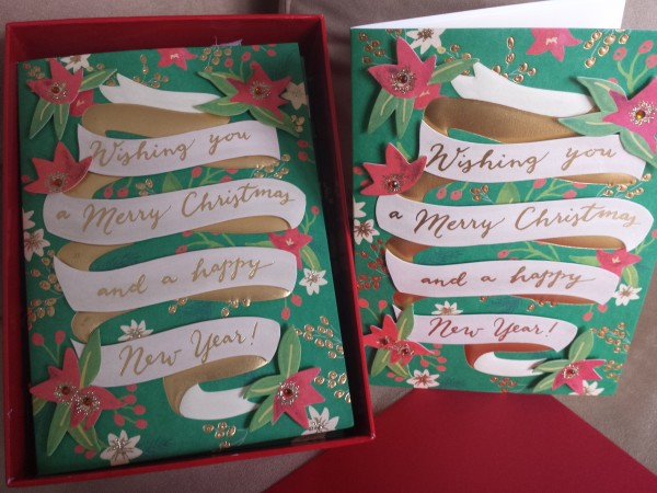 Handmade Banner Christmas Box cards from Papyrus, $24.95