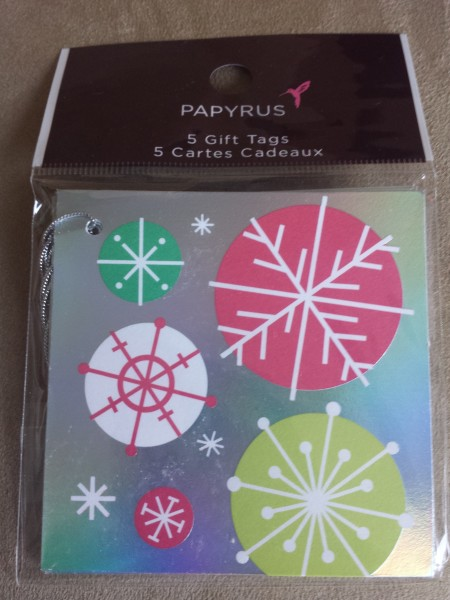 Set of 5 Holographic Snowflakes gift tags from Papyrus, $3.95