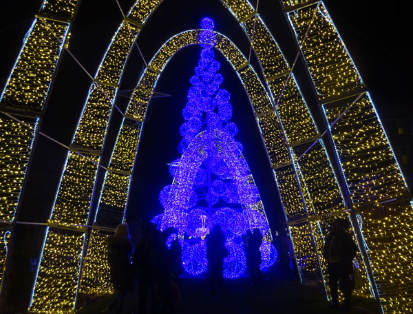 The lit arches at Magical Winterland Nights at Casa Loma allow the spirit to soar, much like the high arches of cathedrals do.
