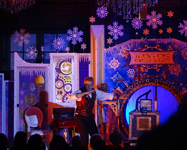 Famed illusionist Professor Wick's holiday themed magic show at Magical Winterland Nights.