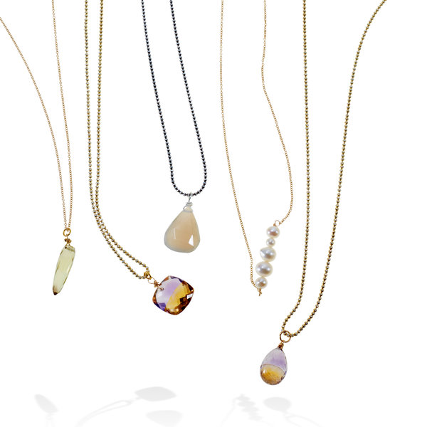 Capa Necklaces in Quartz, Ametrine, Moonstone, Pearl from Erin Tracy, $195