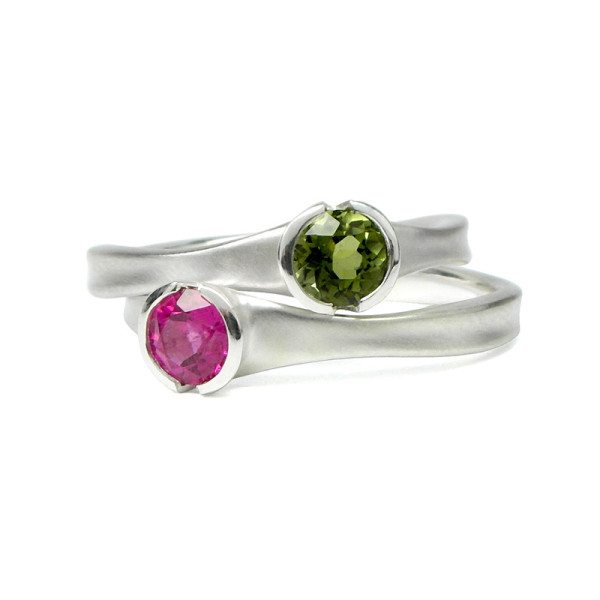 Chalice Rings in Sterling Silver with pink or green tourmaline from Matsu Jewellery, $275 and up