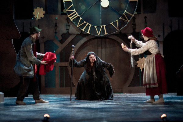 James King as The Baker, Saphire Demitro as The Witch, Amy Swift as The Baker's Wife in Into the Woods at Hart House Theatre, photo Scott Gorman