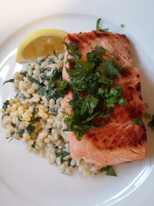 Salmon Fillets with Warm Barley Salad and Fresh Herbs from Goodfood