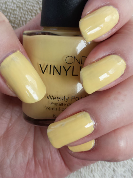 CND Vinylux Flirtation Collection in Honey Darlin', a creme yellow shade