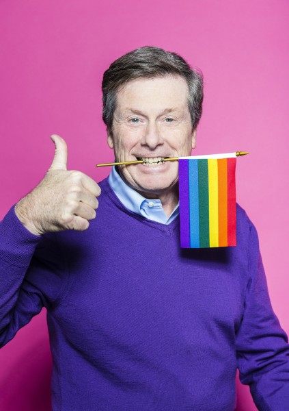 Mayor John Tory poses for Pride Toronto 2016, photo Raina Wilson