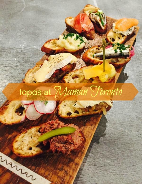 Tapas menu at Maman Toronto