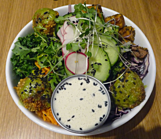 Falafel is part of the K&K Paleo dish at Kupfert & Kim at Richmond and Spadina in Toronto.
