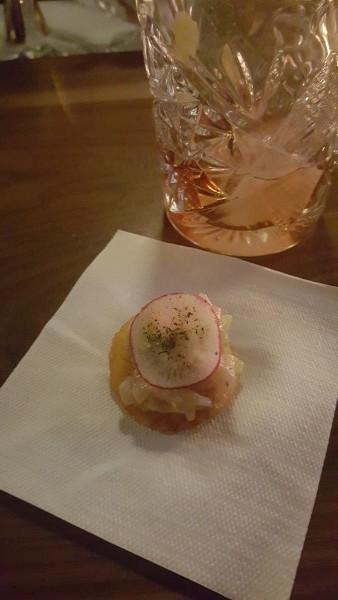 Tuna Tar Tar served on polenta chip at Ufficio Restaurant, Toronto