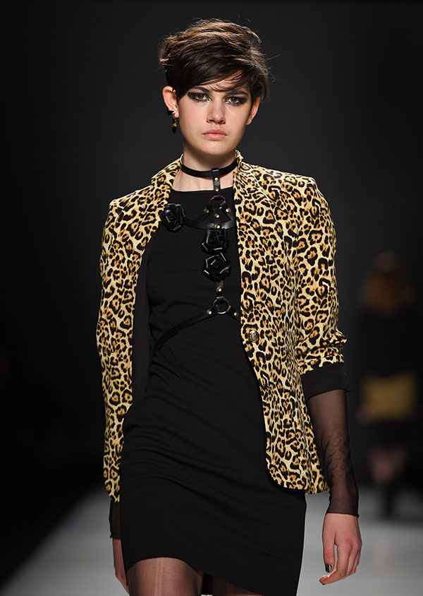 A leopard jacket is thrown over a tight-fitting black dress from Helder Diego FW 2016 show at Toronto Fashion Week, photo George Pimentel