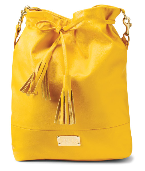 Large yellow leather drawstring bucket purse $286 by Lia Walker at One of a Kind Spring Show 2016