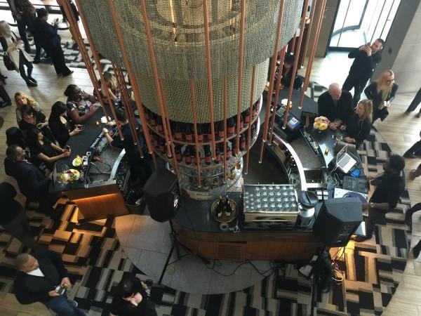 Looking down upon the circular bar at cresta toronto