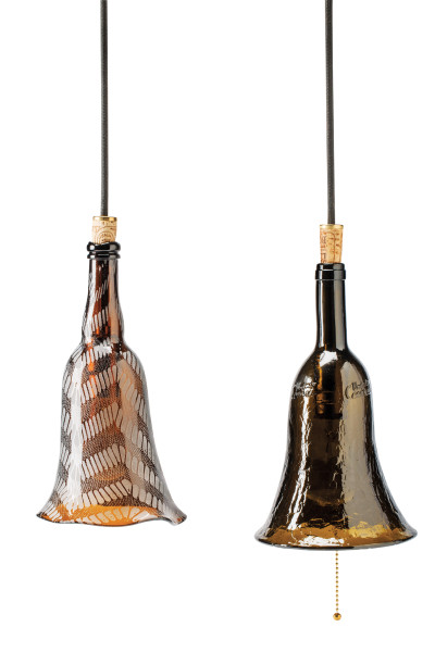 Recycled glass bottle lamps $138 each by Caroline Couture at One of a Kind Spring Show 2016