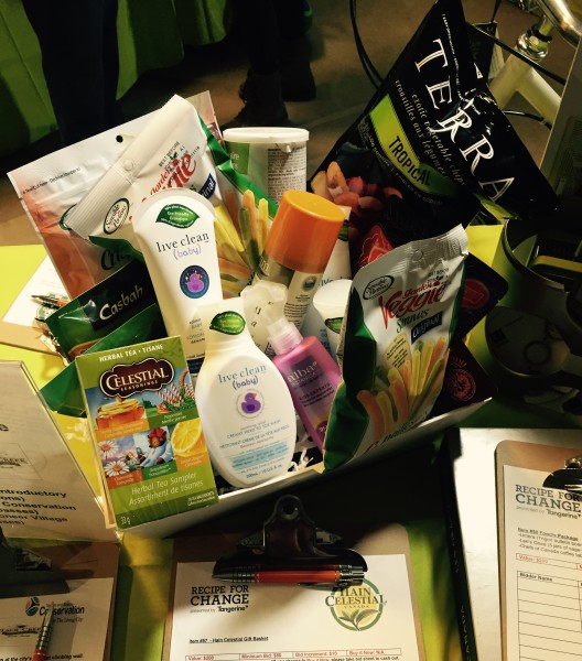 Silent auction treat basket at Recipe for Change 2016
