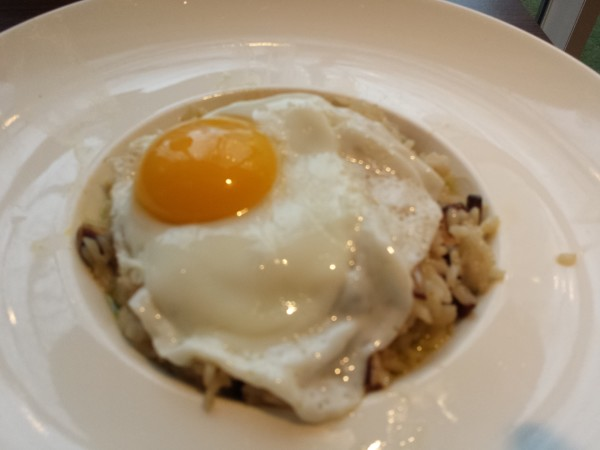 Wild Mushroom and Watercress Pesto Risotto with petite egg and rasped parmigiano reggiano, $23, at The Chartroom Bar & Lounge