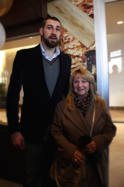 Jonas Valanciunas and Sharilene Rowland at Paramount Fine Foods grand opening at Shops at Don Mills