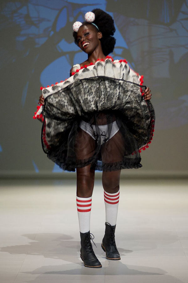 Kitty panties from Wallace Playford take center stage, naturally, at Fashion Art Toronto 2016, photo Jonathan Hooper