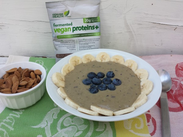 Blueberry Avocado Smoothie Bowl made with Genuine Health Fermented Vegan Proteins