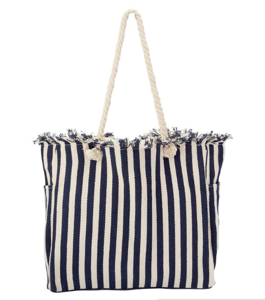 Stripe Rope Tote in Navy from Indigo, $39.50