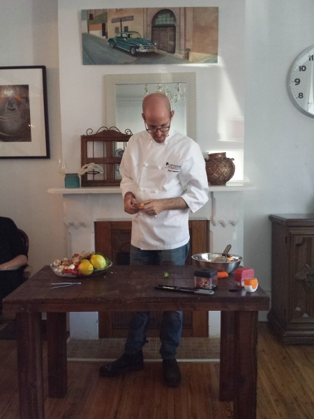 Chef Eyal Liebman of Chef and Somm demonstrates graters from Microplane at The VandenBerg House