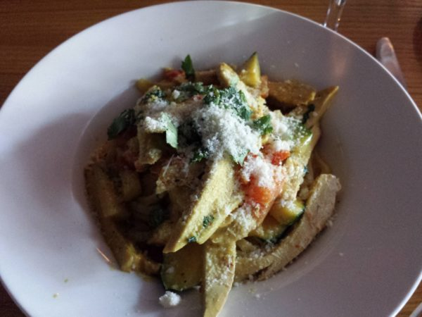 Curry Linguine with chicken, zucchini, diced tomatoes and curry cream sauce, $16.99, at Factory Girl