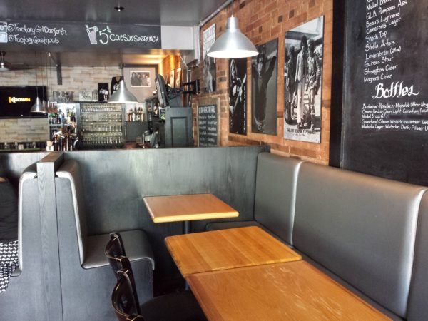 Interior of Factory Girl restaurant on the Danforth