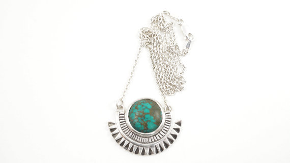 Empire Necklace with Sterling Silver Pendant on Silver Chain with turquoise stone, $230, from Archerade
