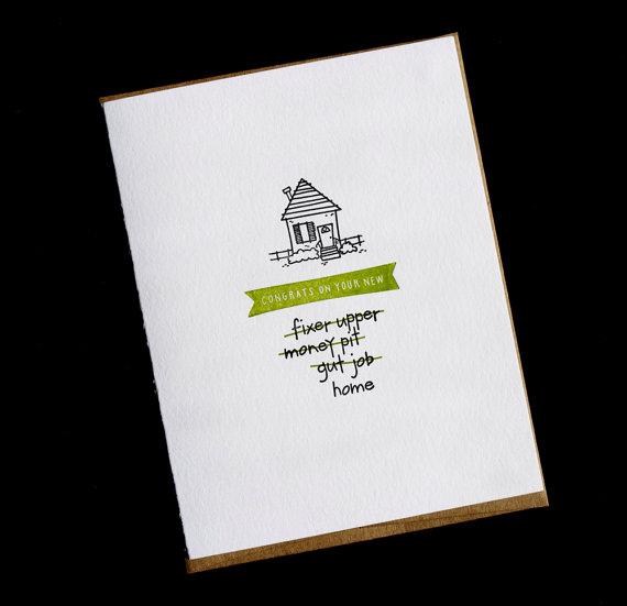 Funny New Home Handmade Letterpress Card from Carolyn Draws, $5.32