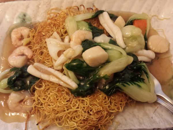 Shrimps, Scallops and Squid with Vegetables and Egg Noodles at Pearl Court Restaurant on Gerrard St. E.