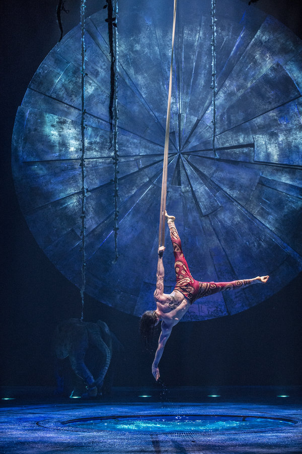 An acrobat performs at Cirque du Soleil Luzia in Toronto