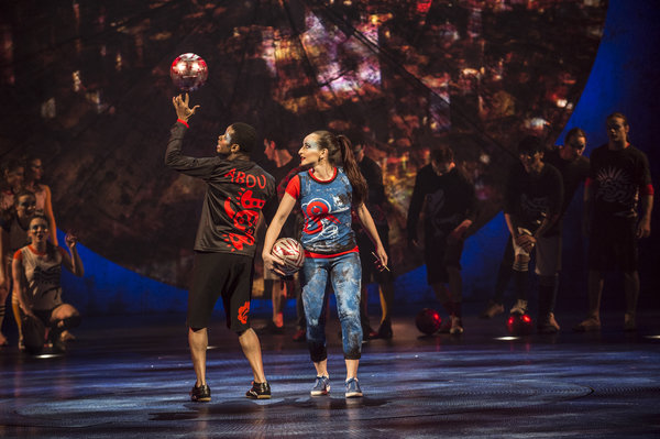 Performers play football at Cirque du Soleil Luzia in Toronto
