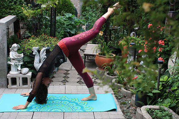 One-legged downward dog feels cozy with the power mesh paneled waistband of the Gaiam luxe yoga capri.