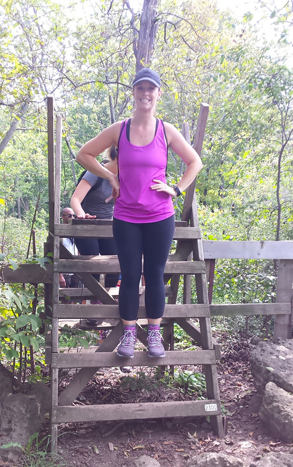 Climbing over this wooden ladder was a snap wearing KEEN Aphlex hiking boots.